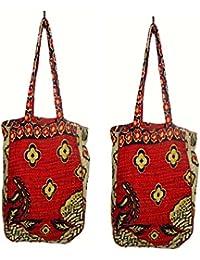 Nikita Home Furnishing Women's Cross Body Cotton Bag (Red)_Pack Of 2