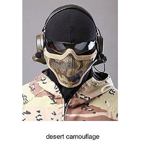 Transpirable Paintball táctico malla de Metal militares esqueleto de media cara máscara de protección Airsoft juego de guerra camuflaje desierto Tan