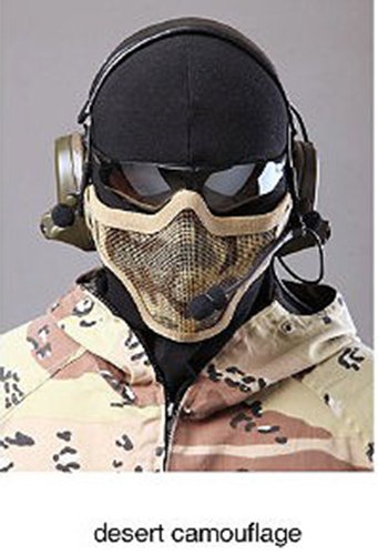 Respirant tactique Paintball Métal Mesh moitié du visage militaire de protection Masque airsoft jeu de guerre Desert Camo Tan