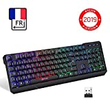 KLIMTM Chroma Clavier Gamer sans Fil AZERTY FRANÇAIS - Haute Performance - Clavier Éclairé Chromatique Gaming Noir RGB PC Windows, Mac PS4 [ Nouvelle Version 2019 ]