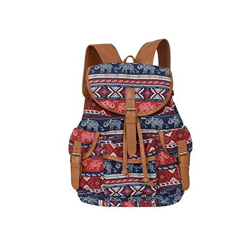 YEARNLY Damen Rucksack Kleiner Rucksack Umhängetasche Handtaschen Rucksack für Damen Canvas Rucksack Schultertasche (Ethnische-Streifen) - Ethnische-streifen