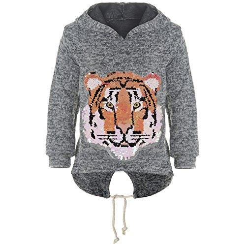emoji shirt mit wendepailletten BEZLIT Mädchen Kapuzen Pullover Pulli Wende-Pailletten Sweatshirt Hoodie 21484 Anthrazit Größe 152