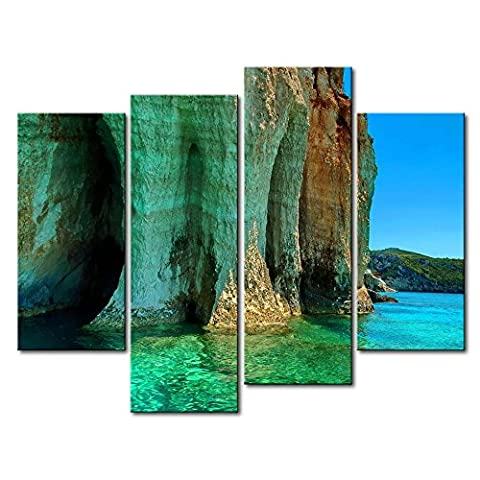 Canvas Print Wall Art Picture Cliff In The Bay Clear Water Beautiful Mountain 4 Pieces Paintings Modern Giclee Stretched And Framed Artwork Oil The Seascape Pictures Photo Prints On Canvas