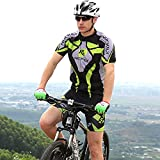 Comfortable Men Short Sleeve Jersey + Padded Shorts Cycling Suit Clothing Set Riding Sportswear - Green (XL)