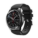 Cinturino 22mm, Happytop sport silicone Wristband cinturino orologi da polso di ricambio per Samsung Gear S3Frontier, Uomo, Black, S