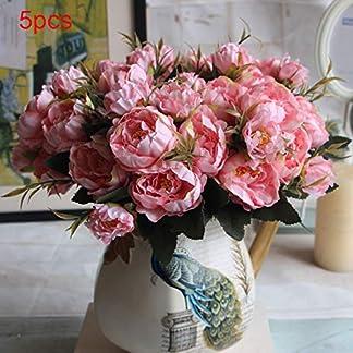 REDAPP Mini peonía Conjunto de Flores Artificiales de Cinco Colores decoración de Interiores para el hogar de la Boda Pink