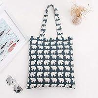 Satyam Kraft 1 Pcs Reusable Jute Cute Printed Cotton Canvas Tote Bag for Shopping Collage Bag Jute Bag (Random Print)