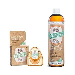DOCTOR GINGER'S Dr. Gingers Kokosöl ziehen & Whitening Mundwasser und Kokosöl & Xylitol Zahnseide 2 Pack Bundle – große Kokosnuss Minze Geschmack, keine schädlichen Chemikalien oder Zutaten