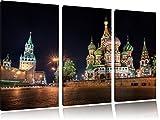 Dark Basilius Kathedrale in Moskau 3-Teiler Leinwandbild 120x80 Bild auf Leinwand, XXL riesige Bilder fertig gerahmt mit Keilrahmen, Kunstdruck auf Wandbild mit Rahmen, gänstiger als Gemälde oder Ölbild, kein Poster oder Plakat
