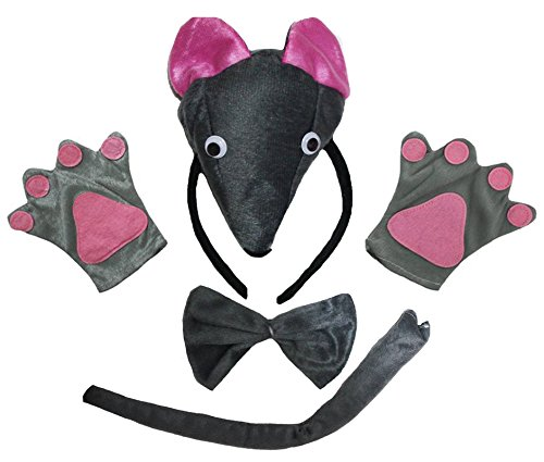 Headband Bowtie Tail Gloves 4pc Children Party Costume (One Size) ()