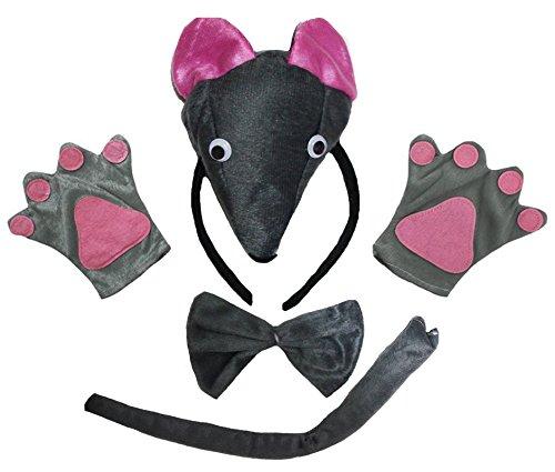 petitebelle Souris 3D Nœud Papillon Bandeau queue Gants Lot de 4enfants Costume Party - gris - Taille Unique