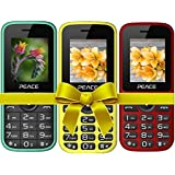 Combo Of 3 Mobiles(P3 Green+P4 Red Black+Yellow Black) With 1 Year Warranty