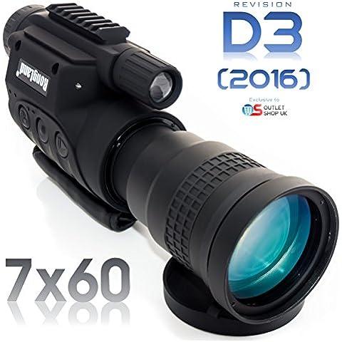 Rongland NV760-D3 (2016) 7x60 DISPOSITIVO DIGITALE PROFESSIONALE DI VISIONE NOTTURNA &A TELECAMERA DI COLORI (MONOCULARE SCOPE) - Nuovo modello da agosto 2016 a batterie ricaricabili - una qualità immagine equivalente di Gen. 2 - Operazione nel Pieno giorno e di notte - automatico illuminazione IR - Foto e video su scheda SD, uscita video per computer o sistema di sorveglianza, treppiede e guida degli accessori, custodia da trasporto, Super Ingrandimento 7x60mm - D3