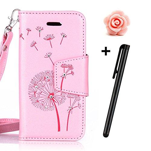 Custodia periPhone 7 2016, custodia a portafoglio iPhone 7, Toyym 3D di lusso brillante con glitter strass a motivo con farfalla e fiore design a libro in similpelle funzione protettiva cover con por Pink Dandelion
