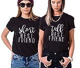 Shirt für Zwei Mädchen Firends Shirts Freundin Freunde Tops Freundschaft Geburtstagsgeschenk 2 Stücke T-shirz Tumblr Sommer Tops(Schwarz+Schwarz,Short-S+Tall-M)