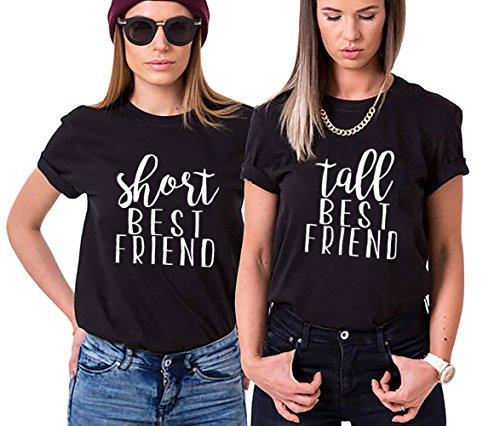 Shirt für Zwei Mädchen Firends Shirts Freundin Freunde Tops Freundschaft Geburtstagsgeschenk 2 Stücke T-shirz Tumblr Sommer Tops(Schwarz+Schwarz,Short-S+Tall-S)