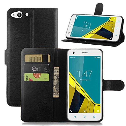 Ycloud Tasche für Vodafone Smart Ultra 6 Hülle, PU Ledertasche Flip Cover Wallet Case Handyhülle mit Stand Function Credit Card Slots Bookstyle Purse Design schwarz
