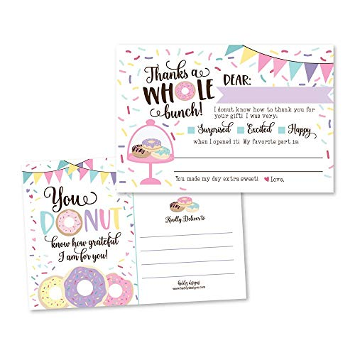 25 Donut Party Fill in The Blank Kids Thank You Cards, Pink Sprinkles Themed Confetti Bday Party Notes, Doughnut Frosting Adult or Children Birthday, Breakfast Baking Supplies, Sweet Treats Ideas