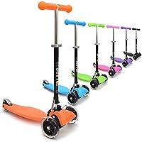 """3Style Scooters®,patinete RGS-1 de 3 ruedas con barra de inclinación mini en forma de """"T"""", para niños y niñas, con giro y ruedas flash LED, regalo de Navidad perfecto, naranja"""