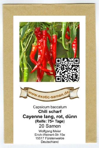 Eine scharfe Variante der Cayenne - Cayenne long, red, slim - Cayenne lang, rot, dünn - 20 Samen