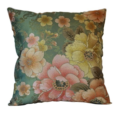 Schöne Beige Pink Green Floral Print Seide Feel Shimmering Stoff 20