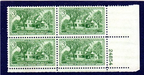Postage Stamps United States. Plate Block #24854 of Four 3 Cents Yellow Green, Home of Theodore Roosevelt, Sagamore Hill Issue, Stamps Dated 1953, Scott #1023. by U.S. Post Office - Roosevelt Sagamore Hill