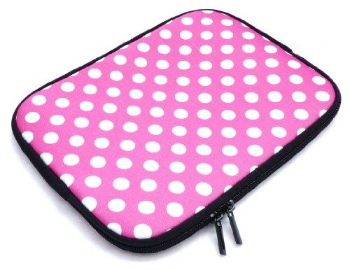 Emartbuy® AlpenTab 7 Zoll Tablet PC Polka Dots Hot Rosa / Weiß Wasserdicht Neopren weicher Reißverschluss-Kasten-Abdeckungs-Hülsen ( 7 Zoll eReader / Tablet / Netbook )