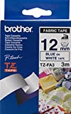Cinta tzfa3 Brother textil azul sobre blanco 12mm x 3m