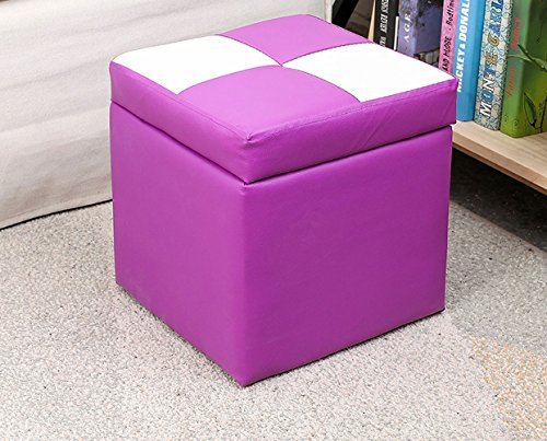 ERNTOGO Cube Lagerung Hocker Wohnzimmer PU Leder Stoff Hocker Ottoman Modern Style Fußstütze (Lila weiß - - Lagerung Stoff Ottoman