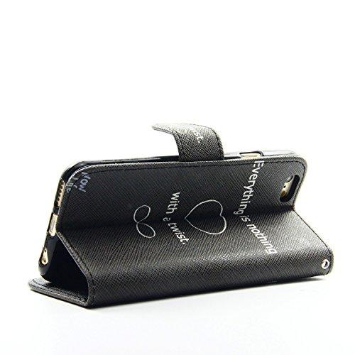 Etche Schutzhülle für iPhone 6 Plus/6S Plus 5.5 Zoll Hülle,iPhone 6 Plus/6S Plus 5.5 Zoll HandyHülle bunt Muster,iPhone 6 Plus/6S Plus 5.5 Zoll Brieftasche Ledertasche, Luxus niedlich Cartoon PU Leder Everything is nothing