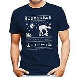 Santa With AT AT Reindeer Star Wars Christmas Knit Men's T-Shirt