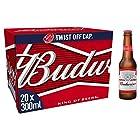 Budweiser Lager Beer Bottles, 20 x 300ml