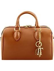 Tuscany Leather - TL Keyluck - Sac Bauletto en cuir Saffiano - Cognac