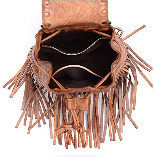 Damen Handgefertigte Retro-Troddeln Multifunktionale Schräge Schulter-Tasche Brown