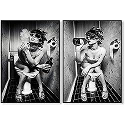 Toilette de mode Sexy femme Impressions sur toile Bar moderne Fille Fumer et boire dans les toilettes Peinture en noir et blanc Photo Poster-50x70cmX2 pcs sans cadre