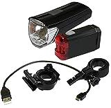 Red Loon Akku LED Fahrradlampen Set Fahrradlicht vorne + hinten 30/15 Lux umschaltbar mit USB-Ladeanschluß