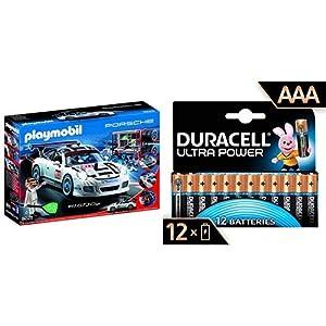 PLAYMOBIL Porsche 911 GT3 Cup 9225 con Duracell - Ultra AAA con Powerchek, Pilas Alcalinas (Paquete de 12) 1.5 Voltios LR03 MN2400