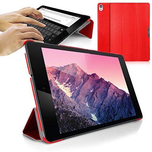 Orzly® - SlimRim for NEXUS 9 - Tablet Stand Case / Schutzhülle mit integrierter Stand - Hülle in ROT - ULTRA SLIM Tablethülle / Fall / Tasche / Folio mit MAGNETISCHEN DECKEL und AUTOMATISCHE STANDBY SENSOR für AUTO SCHLAF / WACH - Entworfen von ORZLY® ausschließlich für Google / HTC NEXUS 9 Tablet (passend für 2014 version mit 9 ZOLL Bildschirm - Original Wi-Fi Modell & 3G / LTE Version)
