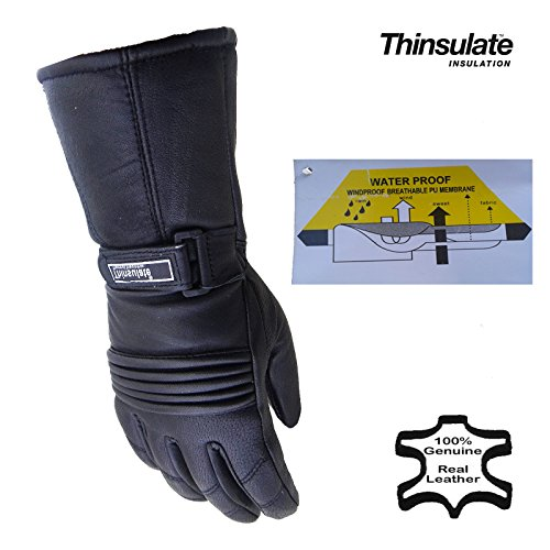 ABG - Warme Damen Thermo-Motorradhandschuhe - Winter - Leder Thinsulate - M