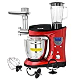 CHEFTRONIC 4 In 1 Upgraded Stand Mixer SM-1088, 1000W Kitchen Mixer 6.2QT Precise Heat Stainless Mixing Bowl with Meat Grinder Blender for Xmas, Wedding, Thanksgiving, Birthday