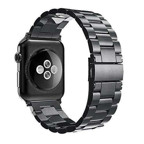 Fintie Apple Watch Armband - Edelstahl Metall Ersatz Band UhrBand Uhrenarmband Replacement mit Doppelt verriegender Faltschließe für Apple Watch Alle Modell 42mm Series 3 Series 2 Series 1, Schwarz
