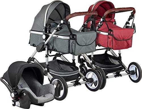*ib style® SOLE 3 in 1 Kombi Kinderwagen | inkl. Auto Babyschale | Zusammenklappbar |0-15kg |ROT*