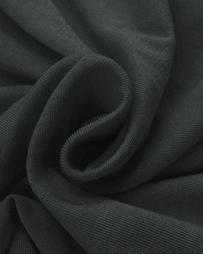 ZANZEA Damen Unregelmäßig Kurzarm Lang Lose Maxi Oberteil Langshirt Bluse Maxi Minikleid Grau