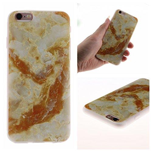 iPhone 6/6S Coque, Voguecase TPU avec Absorption de Choc, Etui Silicone Souple Transparent, Légère / Ajustement Parfait Coque Shell Housse Cover pour Apple iPhone 6/6S 4.7 (Campanula de dentelle)+ Gra Marbre jaune 01