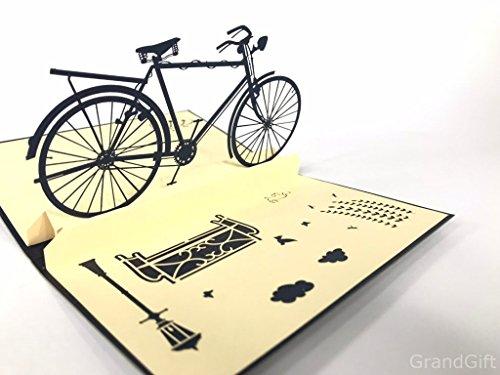 Vintage Bike, Fahrrad Pop Up Grußkarte Mercedes-Benz Auto Jahrestag Baby Happy Geburtstag Ostern Mutter Thank You Valentine 's Day Hochzeit Kirigami Papier Craft Postkarten -