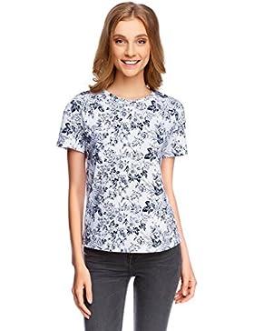 oodji Ultra Mujer Camiseta con Estampado Floral