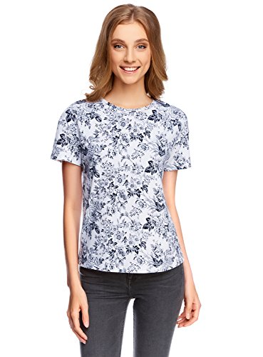 oodji Ultra Donna T-Shirt con Stampa Floreale Bianco (1079F)