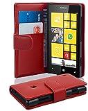 Cadorabo Hülle für Nokia Lumia 520 Hülle in chili rot Handyhülle mit Kartenfach aus Glattem Kunstleder Case Cover Schutzhülle Etui Tasche Book Klapp Style chili-Rot