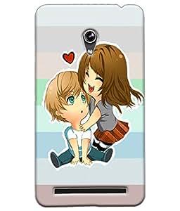 Fuson Cute Couple Back Case Cover for ASUS ZENFONE 6 - D3928