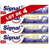 Signal Dentifrice Integral 8, Formule Antibactérienne au Pro-Time Zinc, Protection Caries, Gencives Renforcées, Email Renforcé, Action Blancheur, Haleine Fraîche, Anti-Plaque & Anti-Tartre (Lot de 4)